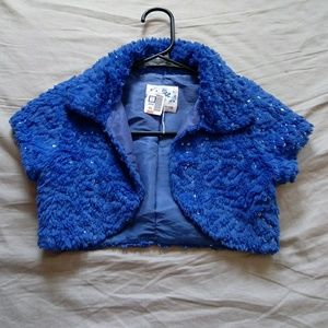 Justice size 6 7 blue plush sequined bolero